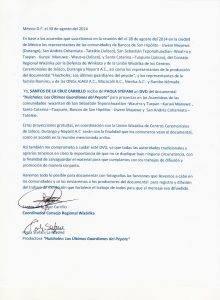 Carta entrega DVD Huicholes -  para asambleas